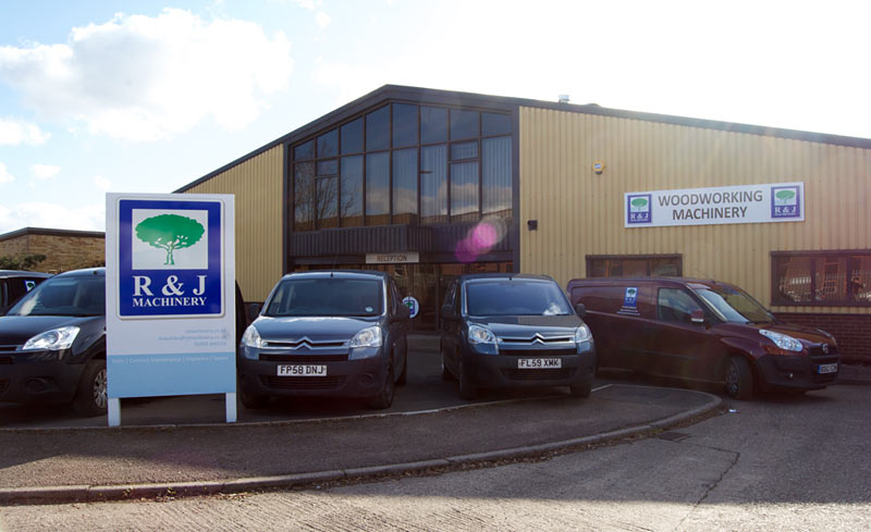 A photo of the front of the RJ Machinery industrial units