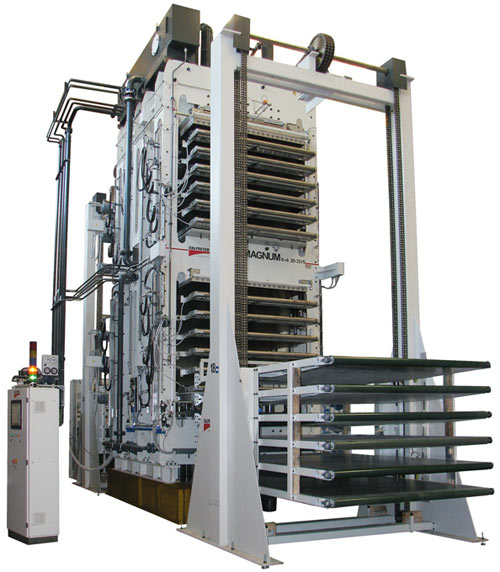 A photo of an Italpresse machine for honeycomb panels